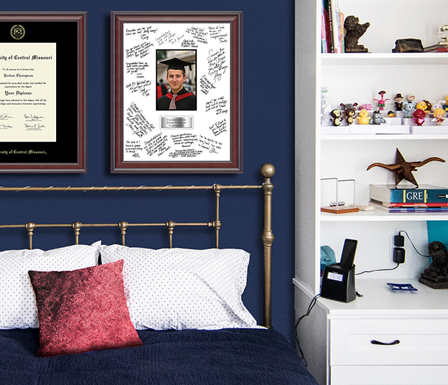 Autograph frame in bedroom