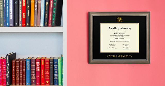 Capella University on pink wall