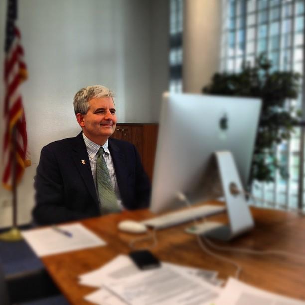 man conducting skype interview