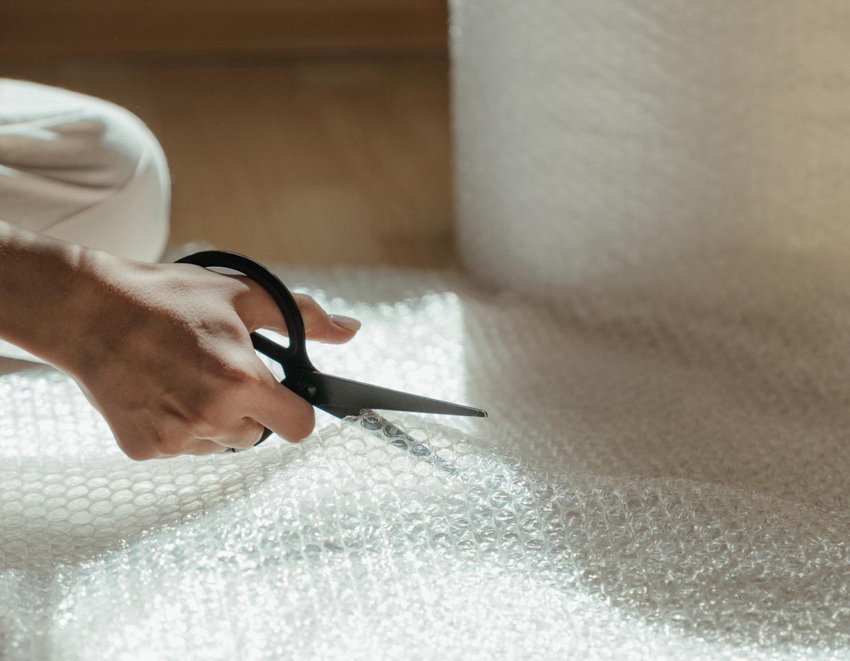 cutting bubblewrap