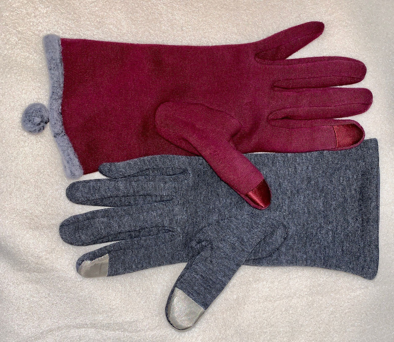 red and gray gloves