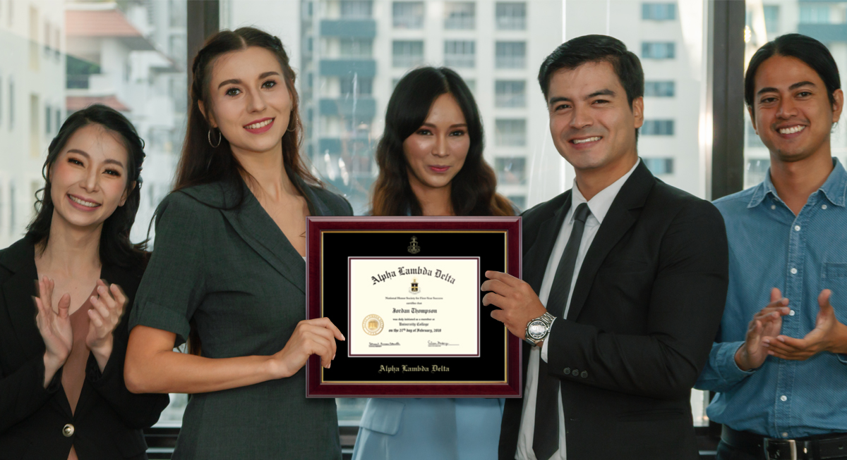 group with award frame