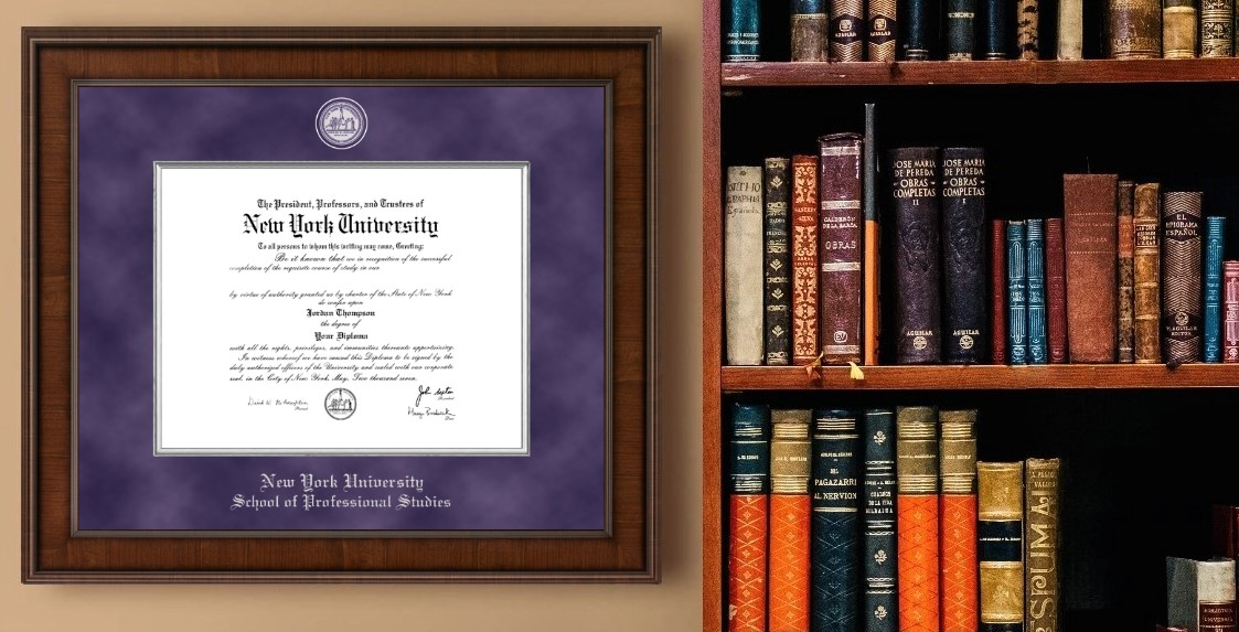 NYU prof diploma frame