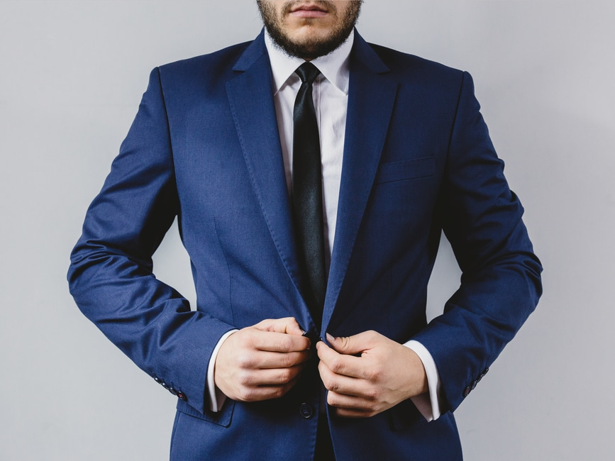 man wearing suit for skype interview