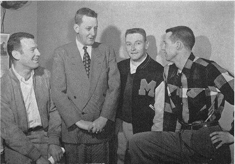 A University of Missouri baseball player wearing a letterman jacket in 1952