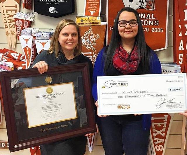 girls holding diploma frame and scholarship check