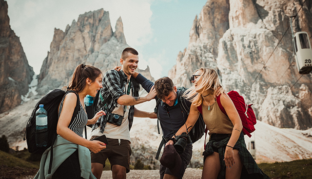 group of friends hiking