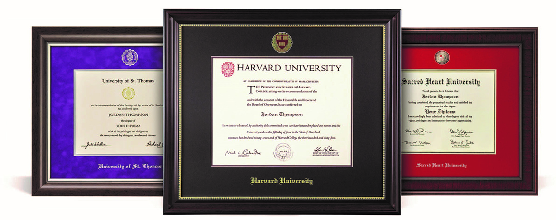 three custom diploma frames